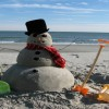 Christmas in Guam with sand snowmen