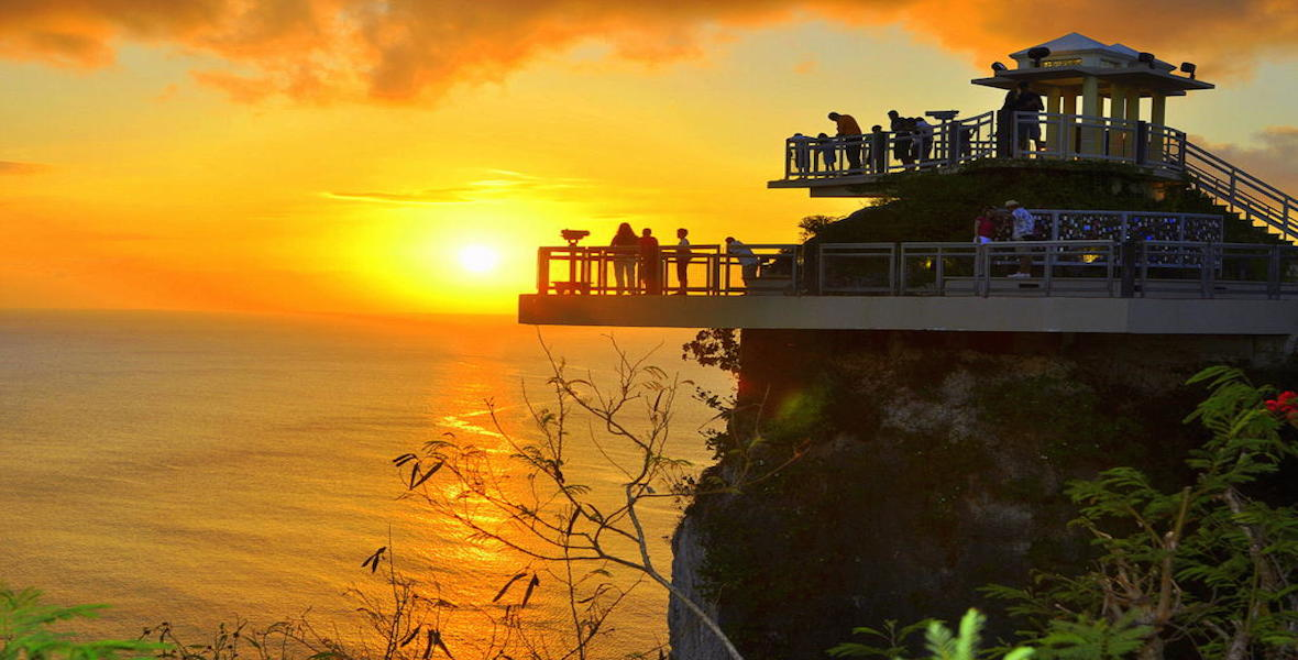 sunset over two lovers point guam